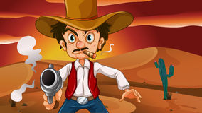 A mad cowboy with a weapon. Illustration of a mad cowboy with a weapon Stock Photos