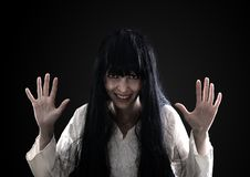 Mad and crasy halloween woman on black Stock Images