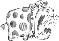Mad Crazy Cow Sketch Vector Royalty Free Stock Photo