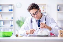 The mad crazy doctor preparing to eat rabbit Stock Photo