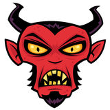 Mad Devil. Cartoon illustration of a mean red devil character with horns, goatee, yellow eyes and fangs vector illustration