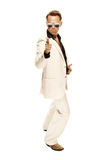 Mad disco dancer in white suit and snake leather boots Stock Images
