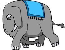 Mad elephant. Mad angry elephant staring at his target with long tusk stock illustration