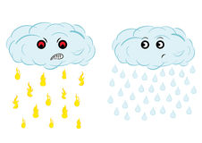 Mad evil cloud. Spiteful and puzzled cloud with the rain from fire Royalty Free Stock Images