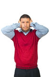 Mad executive man cover his ears. To not hear you isolated on white background,check also royalty free stock images
