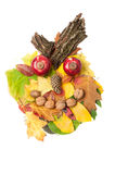Mad face made of autumn fall leaves and fall decorations Stock Photography