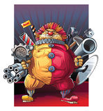 Mad fat clown killer with guns. Royalty Free Stock Image