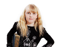 Mad girl with book. Royalty Free Stock Image