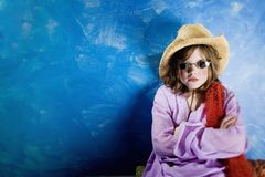 Mad Girl in a Hat and Glasses Stock Photos