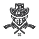 Mad guy cowboy emblem Royalty Free Stock Image