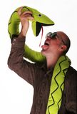 Mad guy with snake Royalty Free Stock Photography
