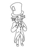 Mad hatter character coloring book vector Stock Image
