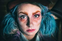 Mad Hatter close up - Alice in Wonderland. Portrait of Mad Hatter from a fairy tale Alice in Wonderland. Haloween costume royalty free stock image