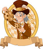 Mad Hatter. With crazy eyes pours tea vector illustration