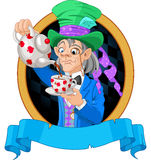 Mad Hatter design. Mad Hatter pours tea design Stock Images