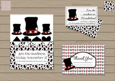Mad Hatter Hat Collection. Mad Hatter Hat Alice in Wonderland. Set Collection of Invitation card, Thank you Note, Business Card. Printable Vector Illustration Royalty Free Stock Photography
