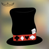Mad Hatter Hat from Wonderland. Tea Party, Birthday, Children Party, Bridal Shower. Vector Illustration on Blur Background for Graphic Projects, Parties and Royalty Free Stock Photos