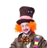 Mad hatter`s different facial emotions. Close-up portrait of smi. Ling and fooling around animator in various theater roles. Emotional and colorful Royalty Free Stock Photo