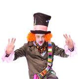 Mad hatter`s different facial emotions. Close-up portrait of smi Stock Photography