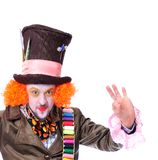 Mad hatter`s different facial emotions. Close-up portrait of smi. Ling and fooling around animator in various theater roles. Emotional and colorful Stock Images
