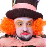 Mad hatter`s different facial emotions. Close-up portrait of smi Royalty Free Stock Images