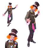 Mad hatter`s different facial emotions. Close-up portrait of smi Stock Photos