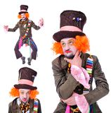 Mad hatter`s different facial emotions. Close-up portrait of smi Stock Images