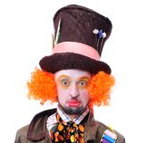 Mad hatter`s different facial emotions. Close-up portrait of smi. Ling and fooling around animator in various theater roles. Emotional and colorful Stock Image
