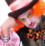 Mad hatter`s different facial emotions. Close-up portrait of smi Royalty Free Stock Photos