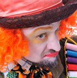 Mad hatter`s different facial emotions. Close-up portrait of smi Royalty Free Stock Image