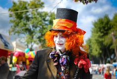 Mad hatter from the tale of Lewis Carroll Alice in Wonderland royalty free stock images
