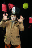 Mad Hatter Tea Party. Mad Hatter costume worn by man for Halloween from Alice in Wonderland royalty free stock image