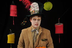 Mad Hatter Tea Party. Mad Hatter costume worn by man for Halloween from Alice in Wonderland Stock Photos