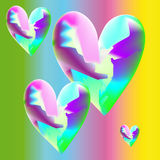 Mad hearts. Four hearts on a varicoloured background Stock Photo