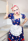 Mad housewife Royalty Free Stock Photos