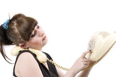 The mad housewife with phone. Funny picture Stock Photo