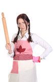 Mad housewife with a rolling pin Stock Photography