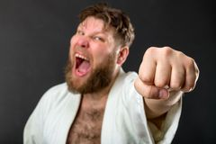 Mad karateka Royalty Free Stock Images