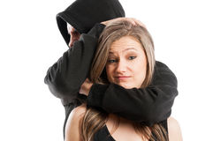 Mad male aggressor and confident female Royalty Free Stock Photos