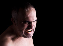 Mad man. Portrait of a screaming mad man, isolated on black Stock Images