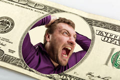 Mad man in the dollar banknote. Mad man on the dollar banknote crying Stock Photo