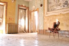 Mad Man In An Old, Abandoned House In Italy Royalty Free Stock Photo