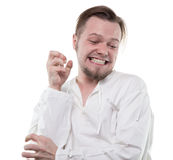 Mad man with thermometer Stock Images
