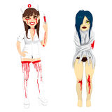 Mad Nurse and Demented Woman Royalty Free Stock Photos