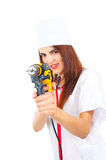 Mad nurse wants to drill you Royalty Free Stock Photography