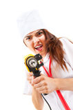 Mad Nurse Wants To Drill You Stock Photo