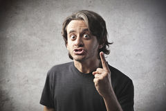 Mad Old Man. A man is emphatically speaking to someone Stock Image