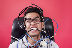 Mad operator with cables Royalty Free Stock Photo