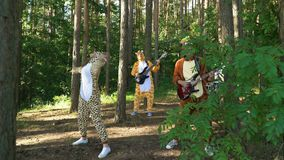 Mad people in animals costumes dances, jumps, have fun in forest on grass. Guys and girl musicians dressed the costumes stock video