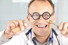Mad physicist in lab Royalty Free Stock Photography
